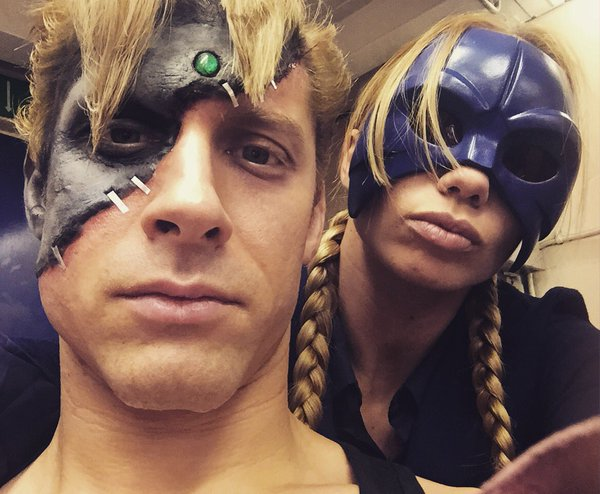 A behind-the-scenes photo of Alain Moussi and Katrina Durden filming Street Fighter: Resurrection in 2016.
