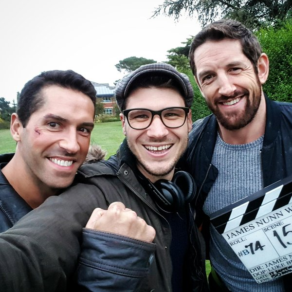 Scott Adkins, James Nunn and Wade Barrett filming Eliminators.