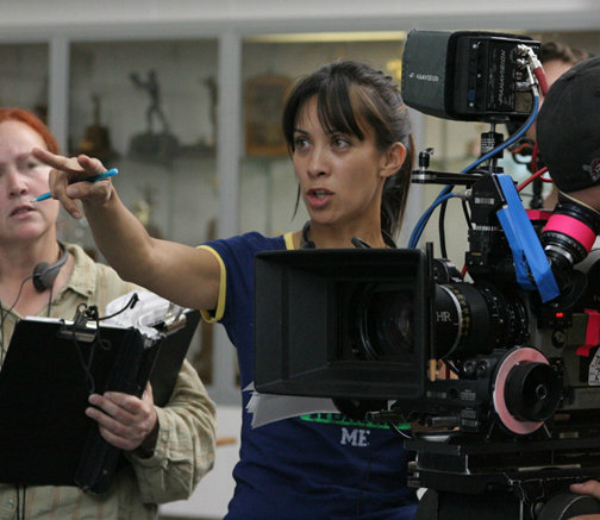 Diana Lee Inosanto on the set of The Sensei (2008).